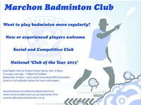 Marchon Badminton Club - Cumbria - new starters and advanced players welcome, social and competative