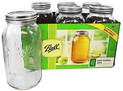 Ball - Wide Mouth 64 oz. Half Gallon Mason Jars - 6 Count