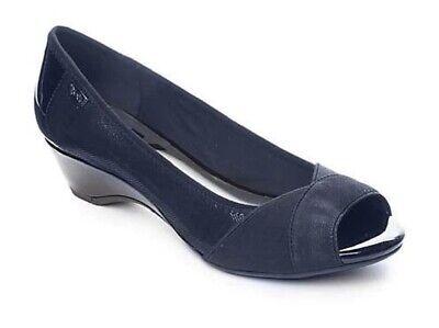 Ak Anne Klein Open Toe Wedges (Women's AK Anne Klein Sport MEMORY Open Toe Wedge Pump Fabric Navy Blue)