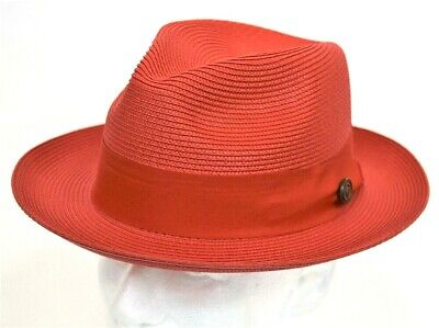Men's Fedora Dress Casual Hat Summer Straw Solid Red 100% Poly Braid FN-823 - Mens Red Fedora Hat