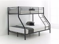 SAME DAY FAST DELIVERY!! BRAND NEW TRIO METAL BUNK BEDS DOUBLE BOTTOM WITH MATTRESS