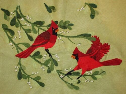 Paragon Red Cardinals on Mistletoe Branches Crewel Embroidery Completed Finished