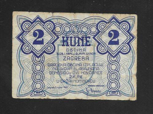 Croatia - Zagreb City Emergency currency 2 KUNA 1942, circulated