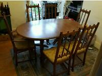 ERCOL Dining table and 6 chair set