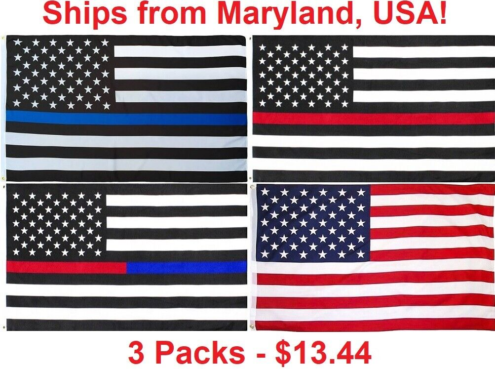 3x5 ft thin blue line flag thin