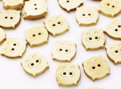 Pig Wooden Button Sewing Cute Animal Children Baby Natural Wood DIY Bead - Diy Pig Costume