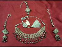 Silver plated Maroon stone Asian party and fashion Jewellery set