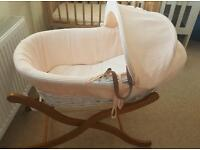 White wicker moses basket, wooden stand and clever mama mattress