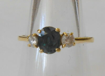 Gorgeous 750 18K Yellow Gold 7x5mm Blue Green Spinel White Sapphire Ring Size 9