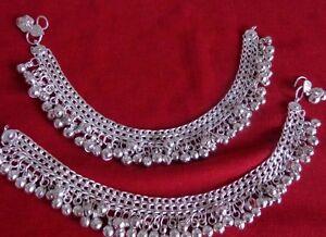 LOT-2-kuchi-tribal-silver-bells-anklet-ankle-bracelet-Indian-Belly-Dance-jewelry