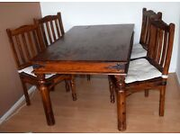 Large Antique Solid Oak Dining Table + 4 chairs