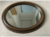 VINTAGE OVAL WOODEN WALL MIRROR, ORNATE DOUBLE LAYERED SURROUND