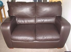 2 SEATER CHOCOLATE BROWN FAUX LEATHER SOFA (matching 3 seater available also)