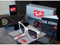 Raybans ladies white gloss sunglasses bargain