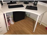 All white Corner Desk