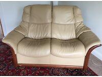 Ekornes Stressless Beige 2 Seater Sofa & Armchair