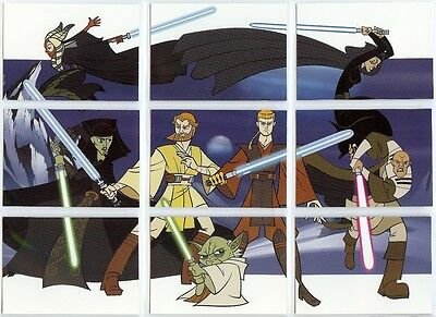 Star Wars The Clone Wars Full 10 Card Sticker Card Chase Set from Topps