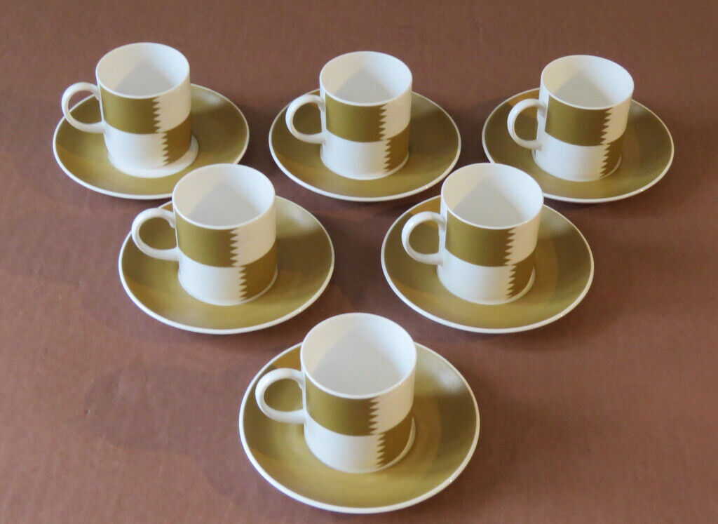 18d351f4617 Susie Cooper - Fine Bone China - Six Heraldry- Old Gold Coffee Cups and  Saucers