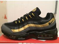 BRAND NEW NIKE AIRMAX 95S 110S BLACK AND GOLD ANY SIZE 6 TO 11 A2