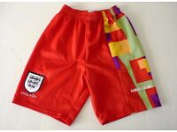 "RARE UMBRO ENGLAND FOOTBALL SHORTS EURO 96 GOALKEEPER DAVID SEAMAN: SMALL 28"""