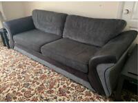 DFS Black & Grey 4 Seater Sofa