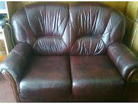 For Sale: 2 seater leather settee and 1 single matching chair