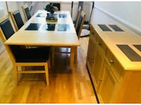 Excellent Extendable Dining table + 6 solid chairs and matching Sideboard - bargain price