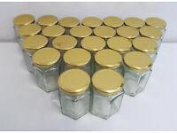 24x Hexagon Glass Storage Jar Pot Gold Screw Lid