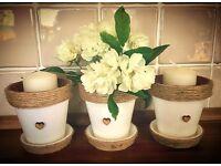 3 x Shabby Chic Plant Pots
