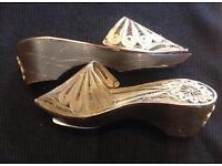 Old pair of silver miniature Ottoman lady shoes