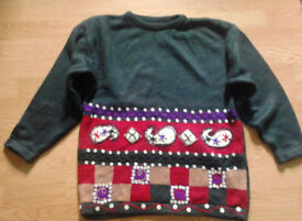 Girl's BHS Grey Multi Coloured Buttoned Detailing Jumper Sweater.Age 11-12 Years.