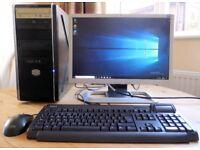 """Midi-tower PC computer, 2.7 GHz Intel cpu, 1 TB & 750 GB Hard drives, 4GB RAM, 20"""" flat screen"""