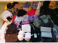 Wholesale Bundle of *40* Women's Clothes and Leather Handbags - boot sale