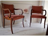 FREE Delivery Solid Pair Large Velvet Salmon Carver Chairs Mahogany Hall Desk