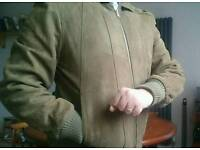 Men's Light Brown leather/fabric jacket