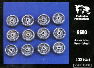 Verlinden 1:35 Sherman Rubber Damaged Wheels Resin Detail Set 2600