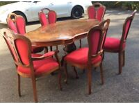 Italian Reproduction Dining Table and Six Chairs