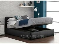 NEW COLORS OPTION AVAILABLE *** DOUBLE OTTOMAN STORAGE BED FRAME ( BLACK,BROWN & WHITE )