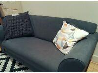 Large 2-Seater Fabric Sofa (grey)