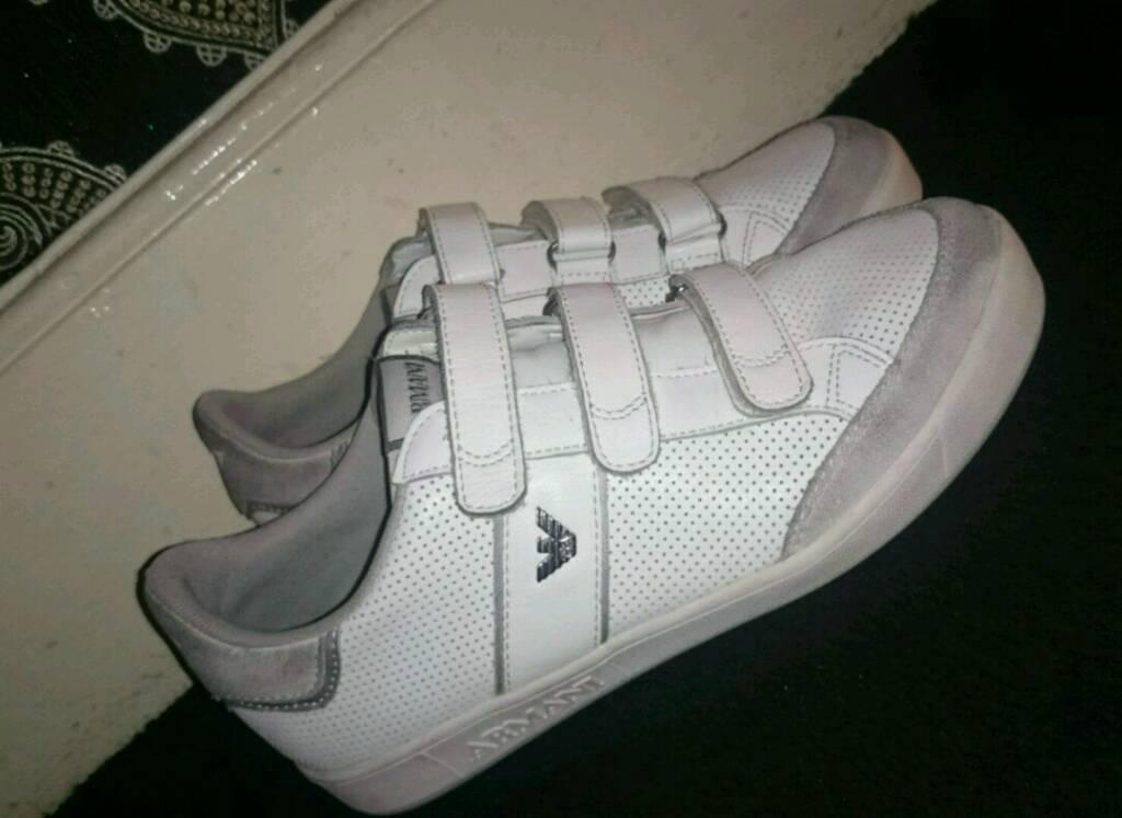 Armani Junior Boys White & Suede shoes (size 6)