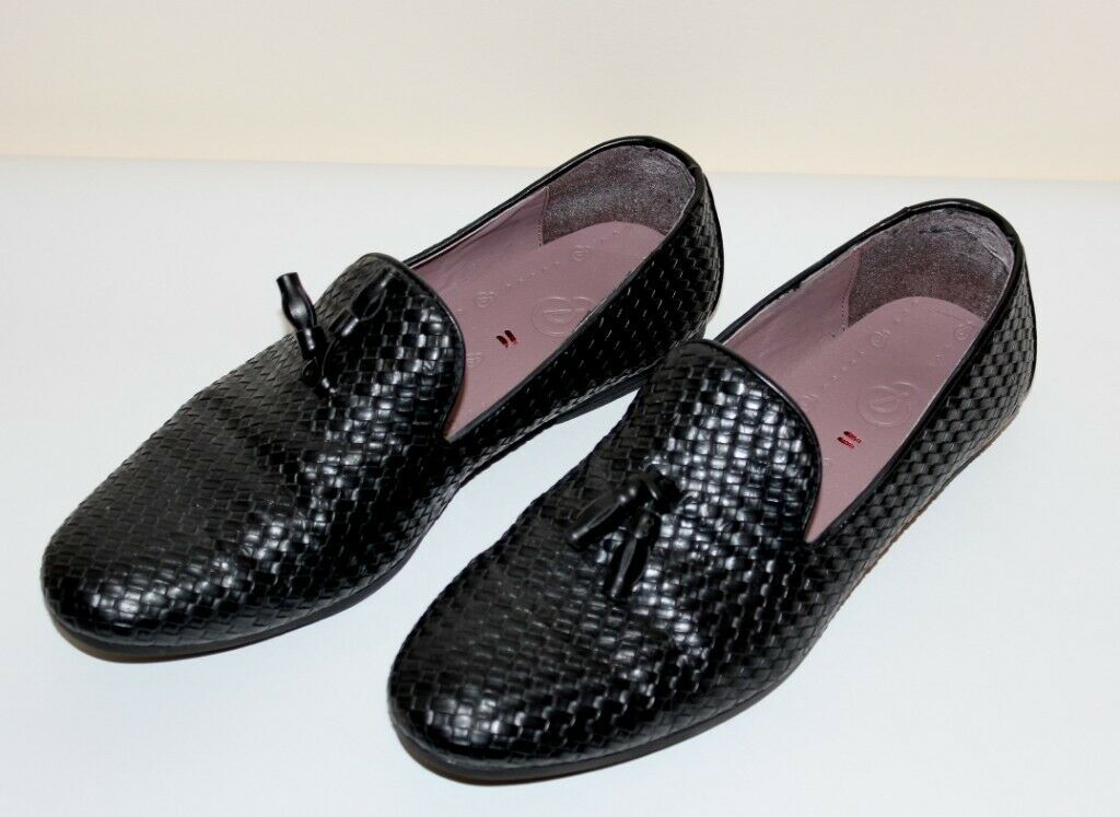 7ca6819b57807f Burton Men s Black Weave Tassel Slip On Loafers Shoes - UK Size 9 43 - VGC