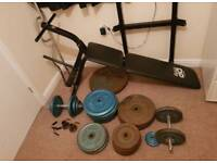 Weights Bench with 160kg Iron Weights