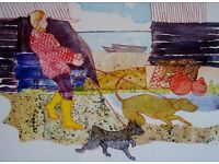 """Family Pets in Mixed Media and Collage"" One Day Art Workshop Classes with Karenza Jackson"