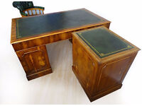 5x3ft ANTIQUE STYLE YEW LEATHER TOP COMPUTER DESK+FILING CABINET+CAPTAINS CHAIR