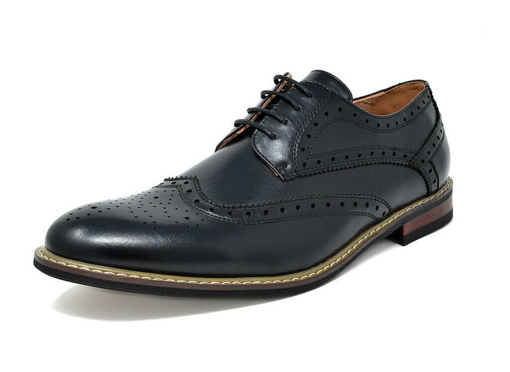 Bruno Marc Mens Formal Classic Modern Oxford Wingtip Lace Up Dress Shoes New