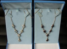 NECKLACES ONE STERLING SILVER WITH AMETHYS ONE WITH MOONSTONE