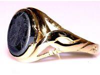 STUNNING 9CT GOLD CELTIC STYLE JET BLACK ONYX MEN'S RING FREE RESIZING MADE ENG FULLY HALLMARKED J4U