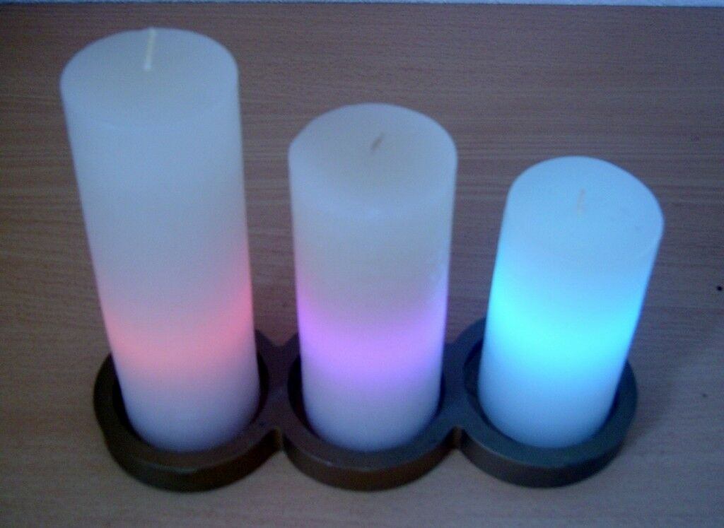 'LOUNGE LIGHT' - Set of 3 LED Illuminated Wax Candles by Perleberg