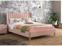 Dreams Pink Velvet Double Bed (like new)
