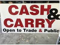 Shop sign cash and carry store warehouse board wholesale